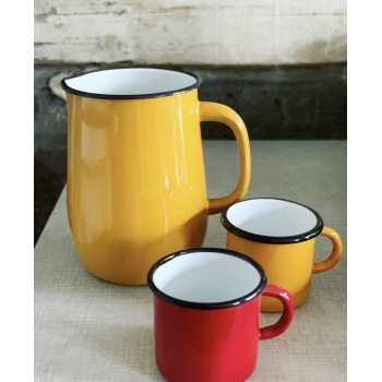Yellow enamel pitcher