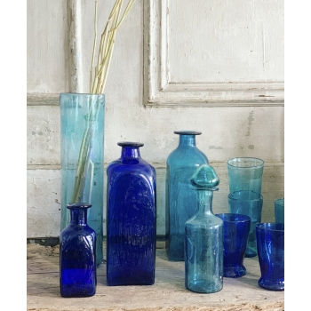 Handblown blue glass