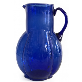 Handblown blue carafe