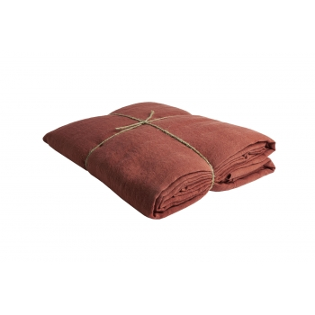 washed linen terracotta sheet