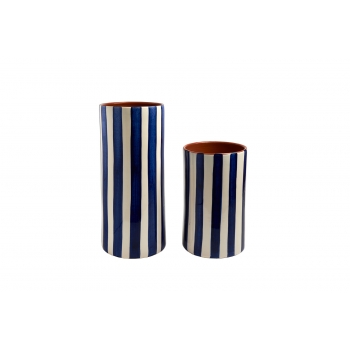 Vase en terre cuite vernissée, rayé bleu GM
