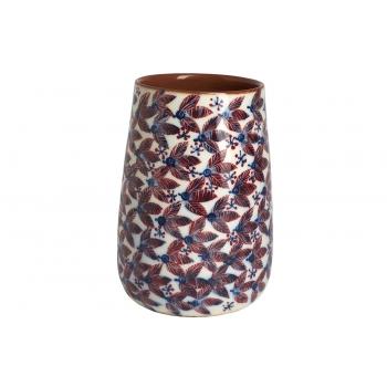 Vase en faïence rouge, motif feuilles rouges