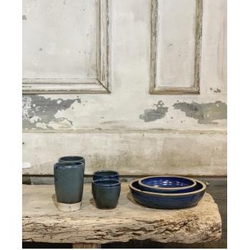 tasse en grès émail bleu