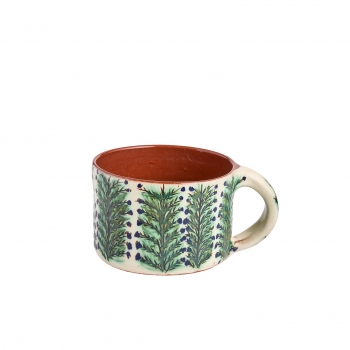 Red faience cup, rosemary pattern