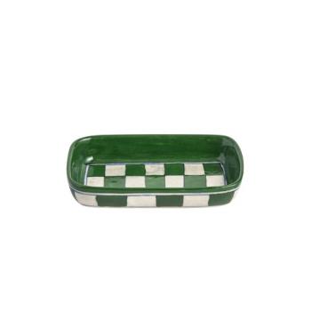 Plat ceramique vert et blanc