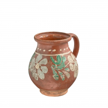 Pichet ancien de Transylvanie rond motif fleurs