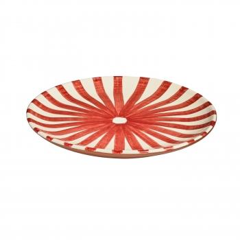 Assiette en terre cuite vernissée, étoile rouge