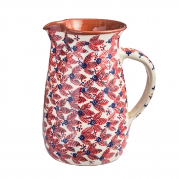 Red faience pitcher, red leaves pattern