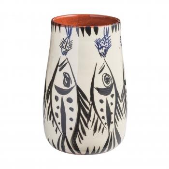 Vase en faïence rouge, motif poissons noirs